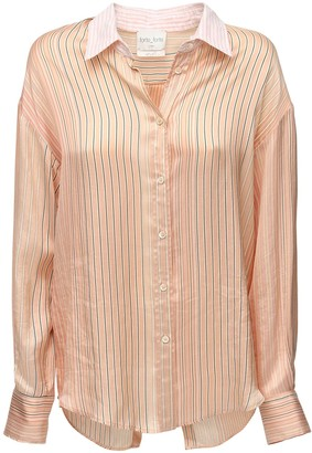 Forte Forte Striped Satin Shirt W/ Open Back