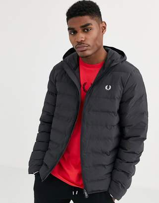 Fred Perry hooded puffer jacket in black