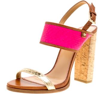 DSQUARED2 Tricolor Embossed Python Leather Cork Block Heel Sandals Size 41