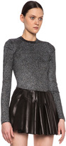 Alexander Wang Lurex Ribbed Crewneck in Liquorice