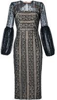 Rebecca Vallance Lou Lou lace gather sleeve dress - women - Viscose - 8