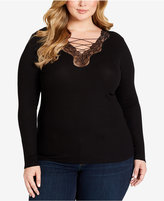 Jessica Simpson Trendy Plus Size Yvetta Lace-Up Top