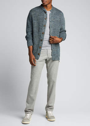 Inis Meáin Men's Stand-Collar Button-Front Cardigan