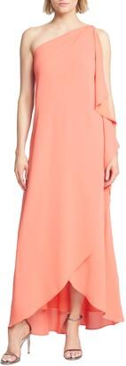 Halston Asymmetrical One Shoulder Georgette Gown
