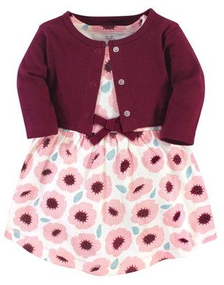Touched By Nature Touched by Nature Baby and Toddler Girl Organic Dress & Cardigan, 2pc Outfit Set