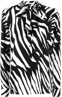 HUGO BOSS Zebra-Print Silk Blouse