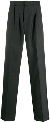Gr Uniforma Straight-Leg Pleated Pinstriped Trousers