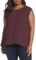 Sejour Plus Size Women's Cap Sleeve Pleat Back Top