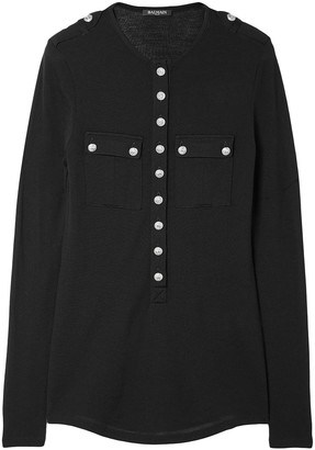 Balmain Button-detailed Wool And Cashmere-blend Top