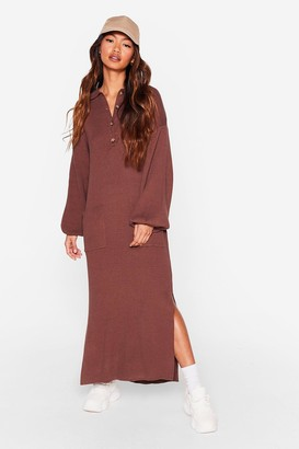 Nasty Gal Womens Don't Pocket About Me Knitted Midi Dress - Brown - 8