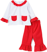 Red & White Pin Dot Tee & Ruffle Pants - Infant, Toddler & Girls