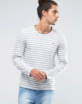 Esprit Striped Long Sleeve Top with Raw Neck