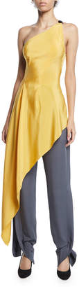 Roland Mouret Roxby One-Shoulder Long Draped Tunic