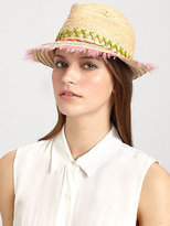 LOLA Cosmetics Peyote Feather-Trimmed Raffia Fedora