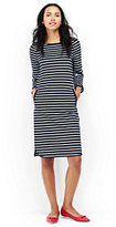 Lands' End Women's Petite 3/4 Sleeve Ponte Shift Dress-Eggshell White Narrow Stripe