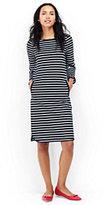 Lands' End Women's Tall 3/4 Sleeve Ponte Shift Dress-Eggshell White Narrow Stripe