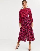 Closet London Closet long sleeve split midi dress in mixed heart print