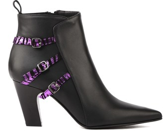 Marc Ellis Black Leather Ankle Boots With Zebra Effect Strap