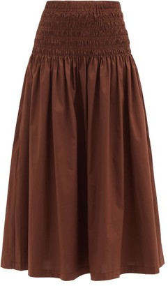 STAUD Sunday Shirred Cotton-blend Maxi Skirt - Brown