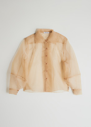 Athena Stelen Women's Button Down Shirt In Beige, Size Large