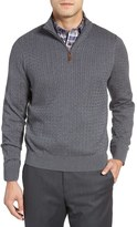 David Donahue Men's Cable Knit Silk Blend Quarter Zip Sweater