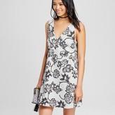 K by Kersh Women's Sleeveless V-Neck Floral Printed Dress Pebble Gray/Black