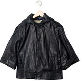 Mike & Chris Girls' Hooded Leather Jacket