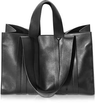 Corto Moltedo Costanza Beach Club Large Black Leather Tote