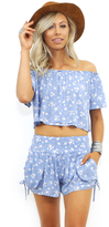 West Coast Wardrobe Dayflower Floral Crop Top and Short Set in Blue