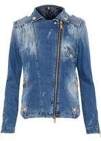 Pierre Balmain Distressed Denim Biker Jacket