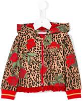 Miss Blumarine leopard and roses print hoodie