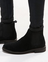 Asos Chelsea Boots in Black Suede With Chunky Sole