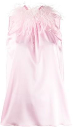 Styland Feather-Embellished Sleeveless Blouse