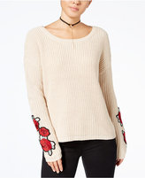 Almost Famous Juniors' Rose-Embroidered Sweater