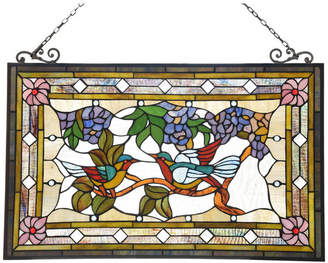 "Chloé Lighting Greeting Birds Tiffany Animal Design Window Panel 32""x2"