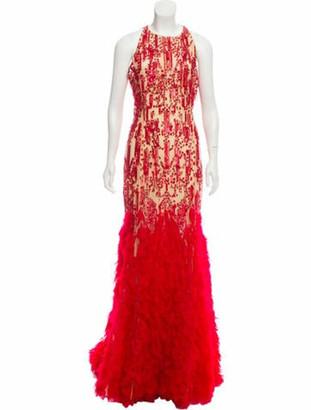 Naeem Khan Embellished Evening Gown Red