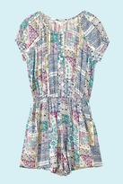 Yumi Girls Patchwork Print Short Sleeve Playsuit Multi
