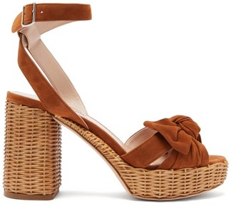 Miu Miu Bow-front Suede And Wicker Platform Sandals - Tan