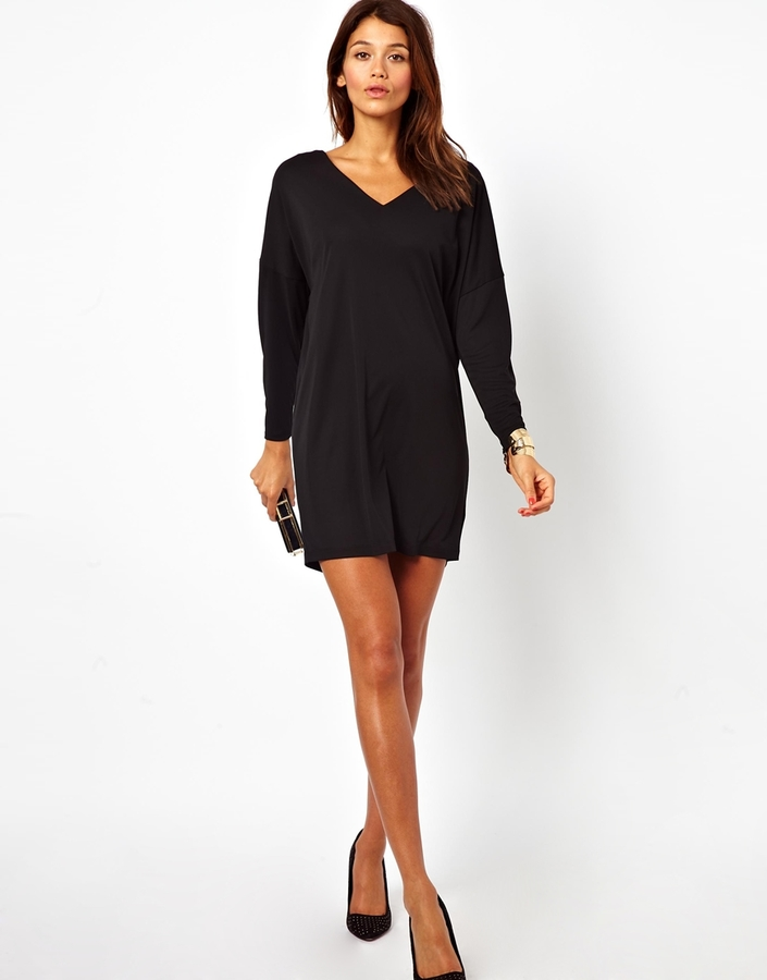 Asos Dress With V-Neck In Crepe