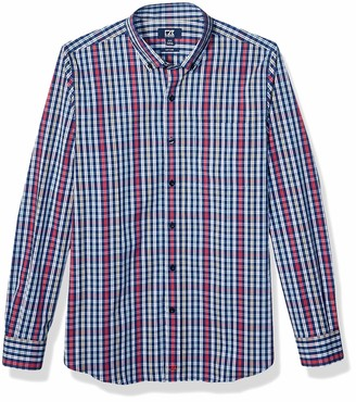 Cutter & Buck Men's Long Sleeve Anchor Double Check Plaid Tailored Fit Button Up Shirt