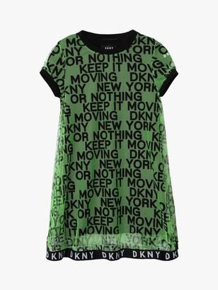 DKNY Girls' Mesh & Milano Slogan Dress