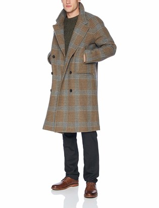Billy Reid Men's Cashmere Double Breasted Thomas Overcoat with Leather Detail