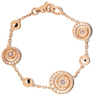 David Morris 18kt rose gold Rose Cut Forever Disc & Chain diamond bracelet