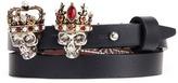 Alexander McQueen King and Queen skull double wrap leather bracelet