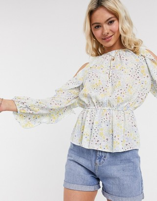 ASOS DESIGN floral cold shoulder top with ruffle