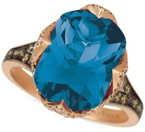 LeVian Le Vian Chocolatier London Blue Topaz (6-9/10 ct. t.w.) and Diamond (3/8 ct. t.w.) Ring in 14k Rose Gold (Also Available In Pomegranate Garnet)