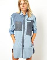 Asos Premium Longline Color Block Denim Shirt
