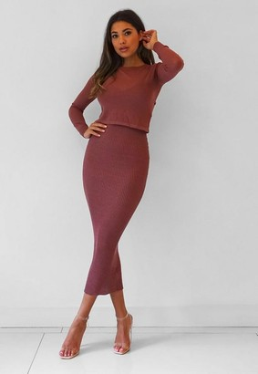 Missguided Mocha 2 Piece Sheer Cami Knit Midaxi Dress