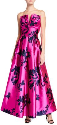 Aidan Mattox Floral Taffeta Strapless Pleated Gown