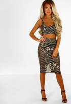 Pink Boutique Luxe Envy Black and Gold Metallic Embroidered Co-ord